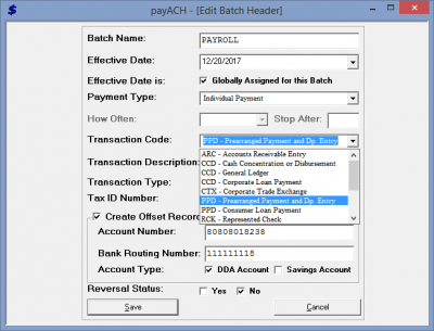 Batch Header Transaction Type Drop Down
