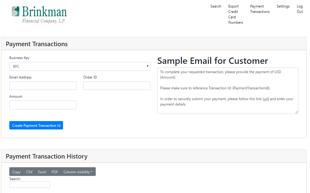 Payment Creation page